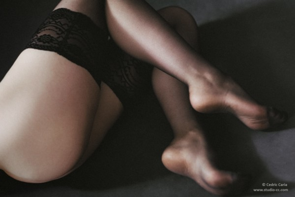 Jambes sexy bas noirs